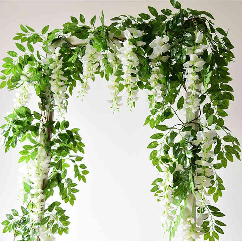 7ft 2m String Artificial Wisteria Vine Garland Plants Foliage Outdoor Home Trailing Fake Flower Hanging Wall Decor