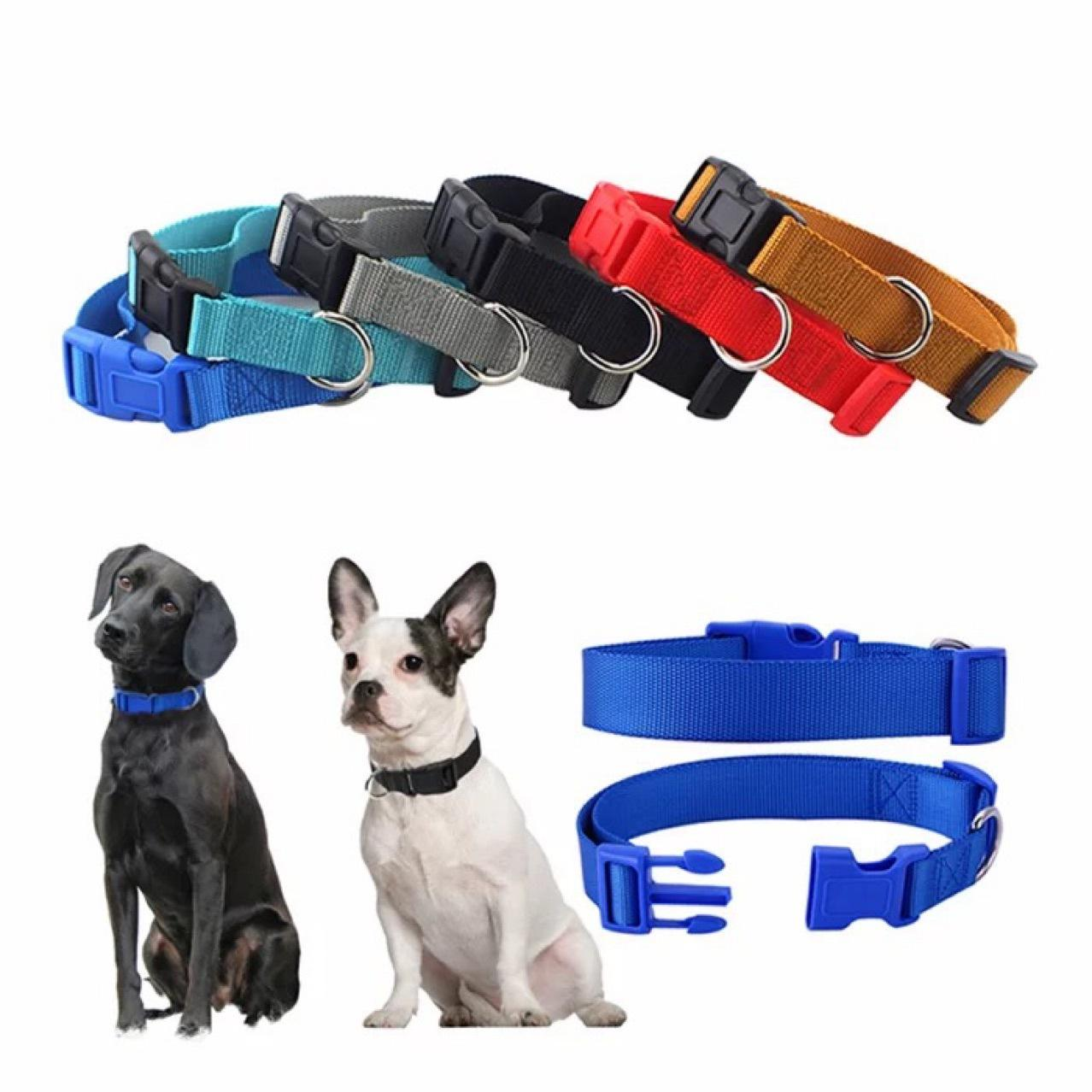Pet Dog Collar Classic Solid Basic Polyester Nylon Dog Collar With Quick Snap Buckle Optional Collars Pull Rope 9 colors w-00682