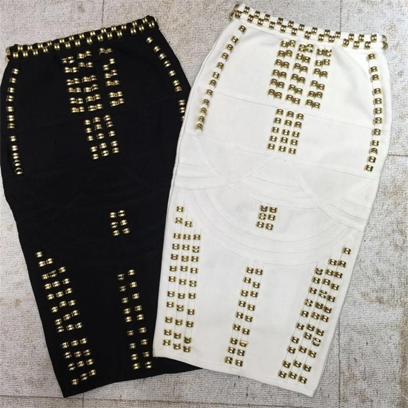 Calidad superior Blanco Blanco Barra sexy moda rayón vendaje falda cóctel ficha bodycon falda 210310