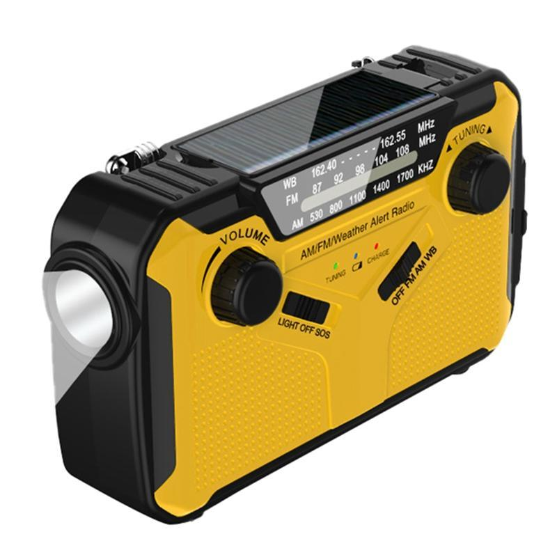 El Radyo Güneş El Krank Radyo AM / FM / WB Acil Durum Hava Durumu Güç Bankası Fonksiyonu ile LED