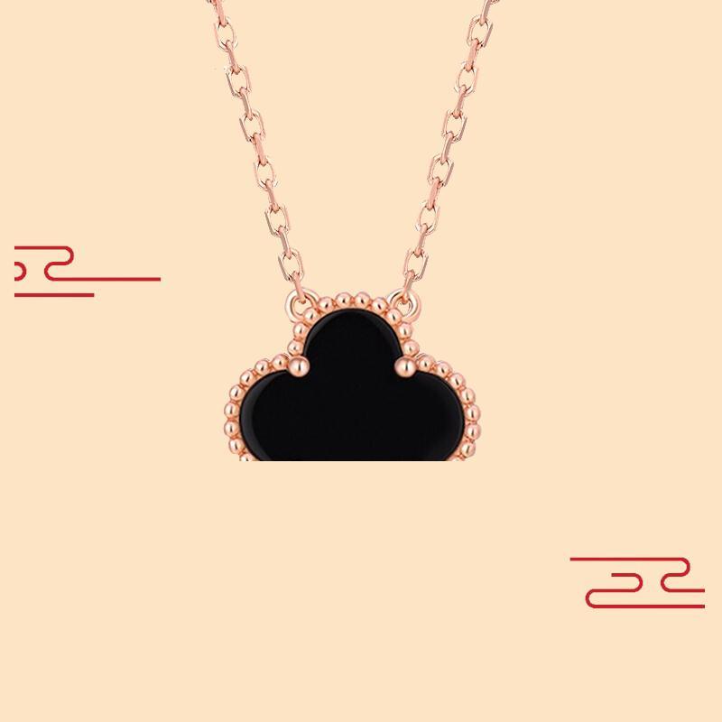 Modeschmuck Halskette schwarz und weiß rot grün vier blatt blume 18k gold halskette diamant clover schnalle