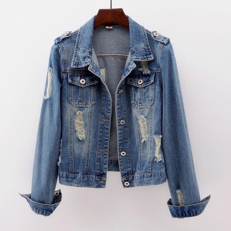 Осенняя джинсовая с длинным рукавом Верхняя разорвана большая джинсовая куртка женщины короткие тонкие моды с коротким рукавом весна