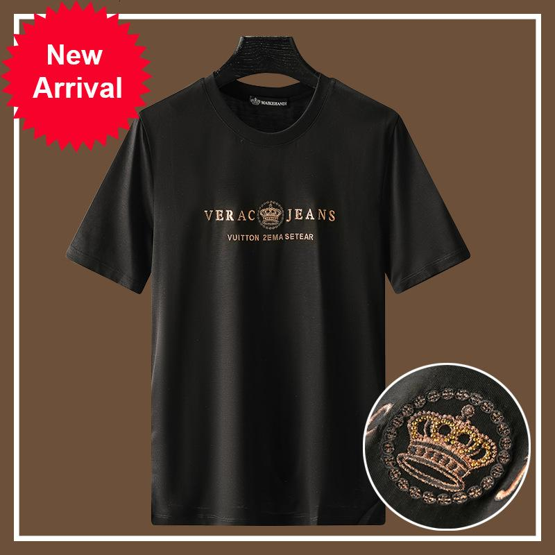 2021 Crown Embroidery Men t Fashion Streetwear Mercerized Cotton Short Thin Man Shirt F4a7