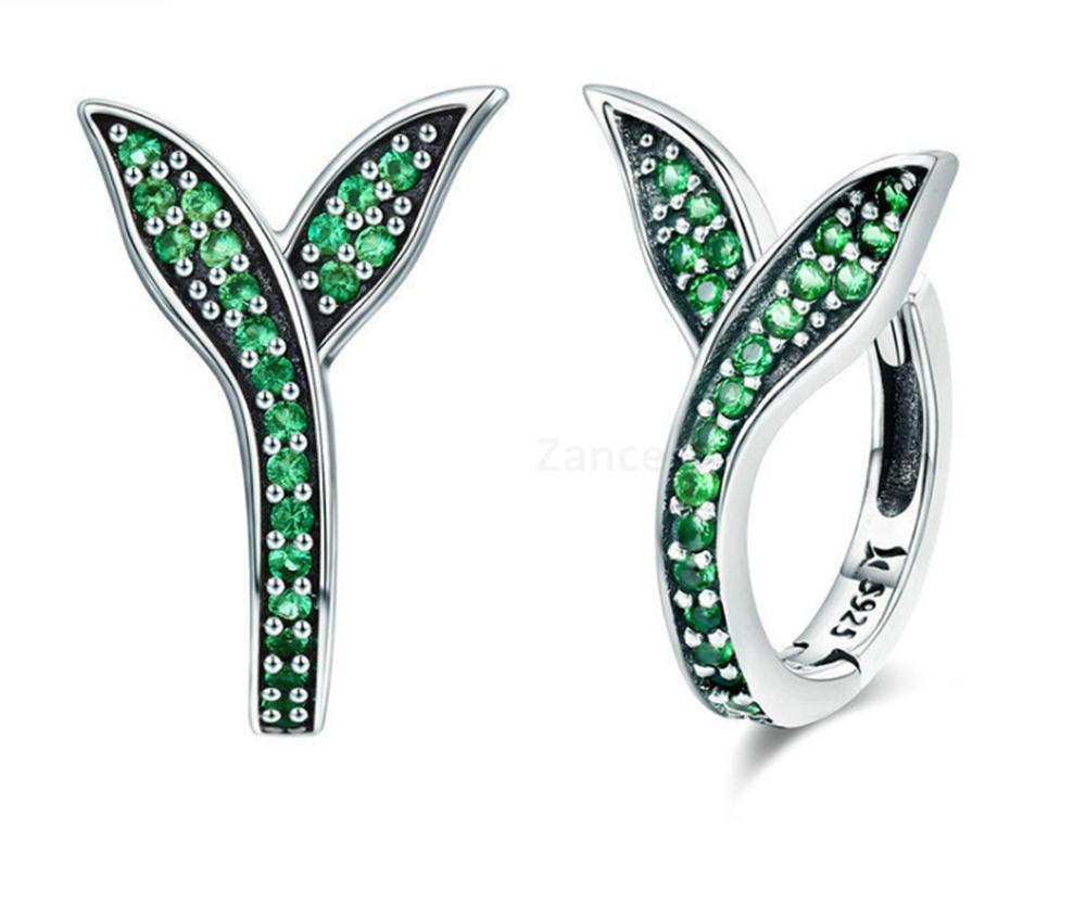 925 Sterling Silver Spring Collection Flower Buds Green CZ Hoop Earrings for Women Sterling Silver Jewelry Cute ear clip