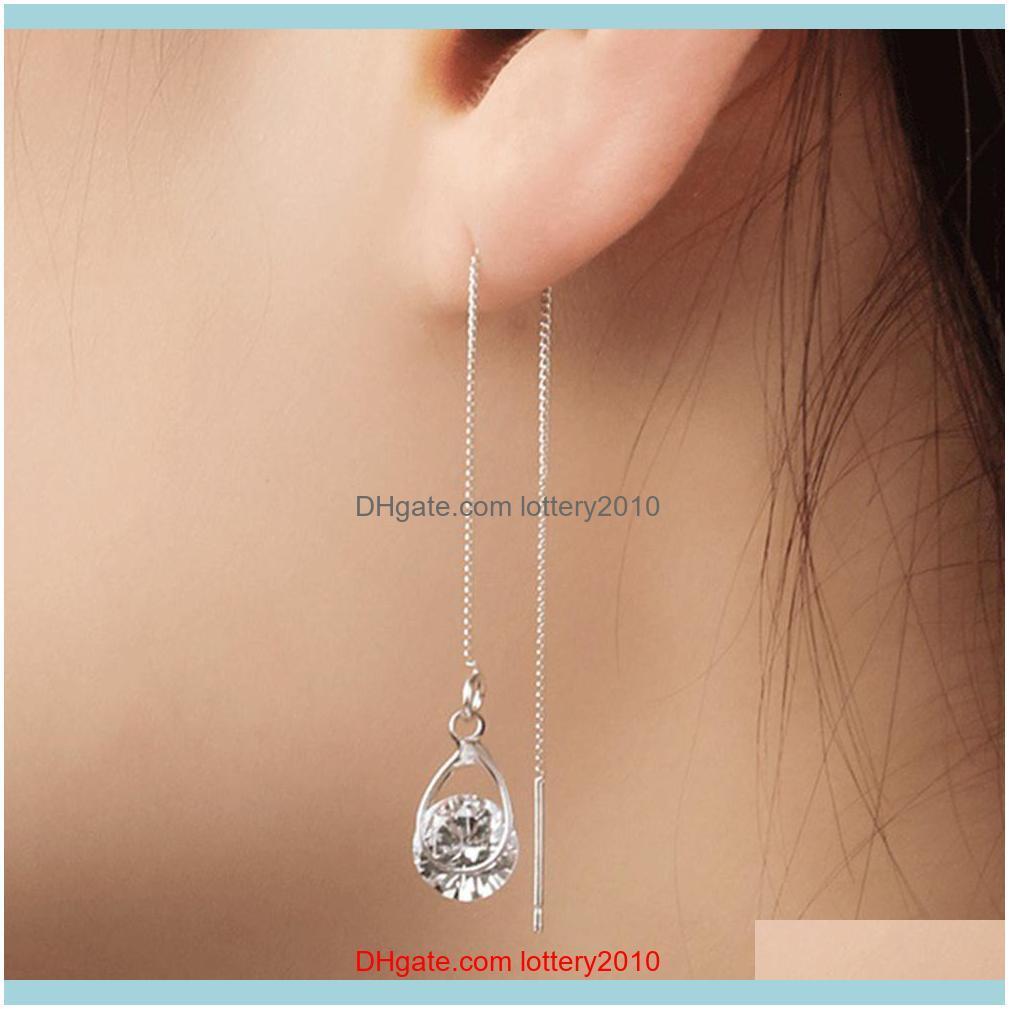 & Chandelier Jewelry Women Fashion Teardrop Cubic Zirconia Threader Long Chain Line Thread Dangle Earrings Drop Delivery 2021 2Mah0