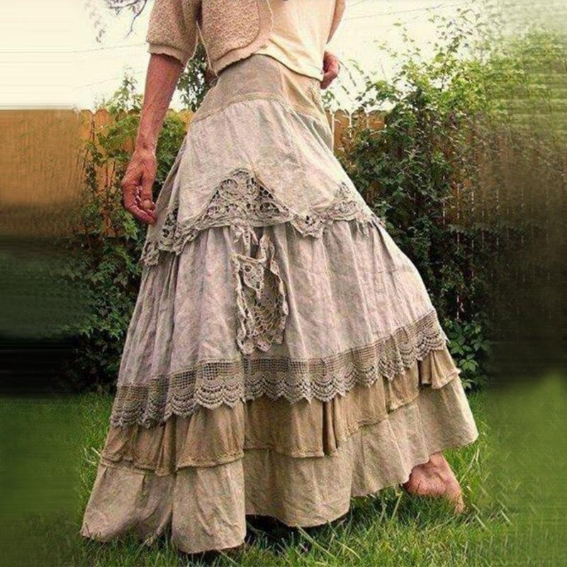 Women's Plus Size Skirts Summer Vintage Ruffles Oversized Maxi Skirts New Lace Long Skirts Low Waist Prairie Chic Dropped Skirt 210309
