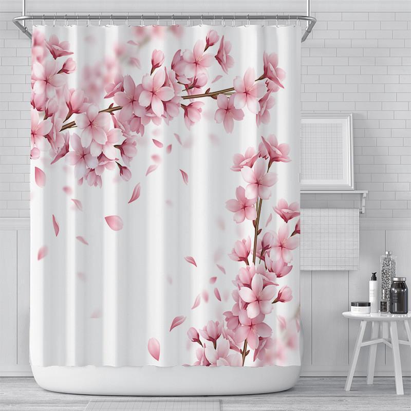 Rideaux de douche floraux Romantique 3D Cerisier Fleur d'impression Rideaux de douche Polyester étanche 180 * 180cm Salle de bain Rideau Decor DHE4907