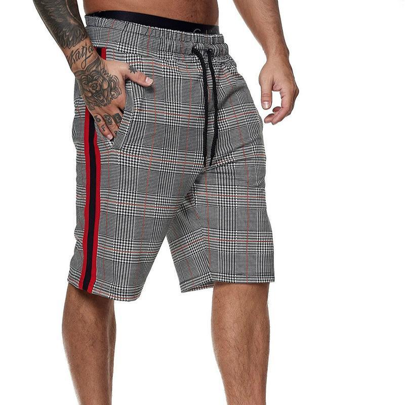 Nouveau 2021 Summer Mens Plaid shorts mâles élastiques de cordon de serrage de la forme physique Casual respirant gymnase shorts homme masculinina vêtements
