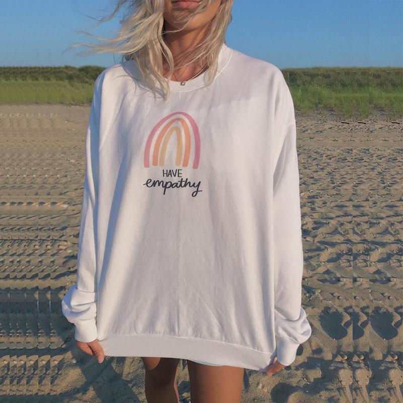 2021 New White Letter Pattern Print Oversized Crewneck Sweatshirt Women Pullover French Designer Autumn Hoodies Teens Clothes Plus Size 53p9