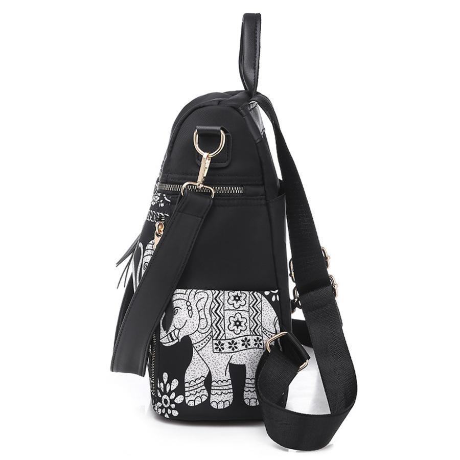 Mulheres 2020 Nova Moda Couro Macio Splicing Feminino Coreano Zipper Backpack Saco de Viagem Portátil JQK2