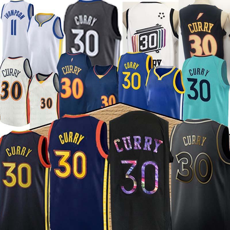 Goldenstate ستيفن جديد 30 كاري 11 طومسون كرة السلة جيرسي الرجال الأعلى الأزرق الأبيض الأسود كرة السلة الفانيلة 2020 أعلى
