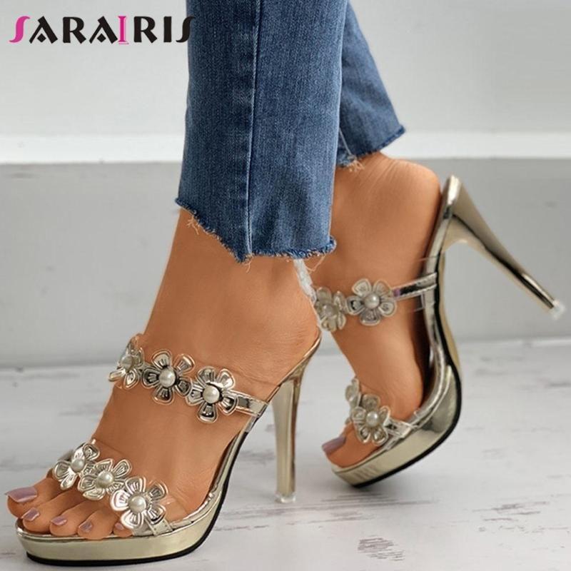 Sarairis Brand Design Bombas diarias de cuentas femeninas 2021 bombas de verano Mujeres Plataforma Mules Tacones altos delgados Resbalón en zapatos Mujer