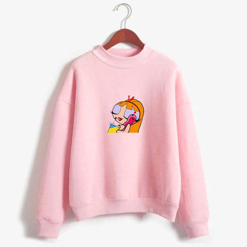 2020 kawaii 탑스 파워 퍼프 미학 까마귀 스웨트 셔츠 소녀 경찰 Harajuku Streetwear 재미있는 만화 인쇄 후드 Q0901