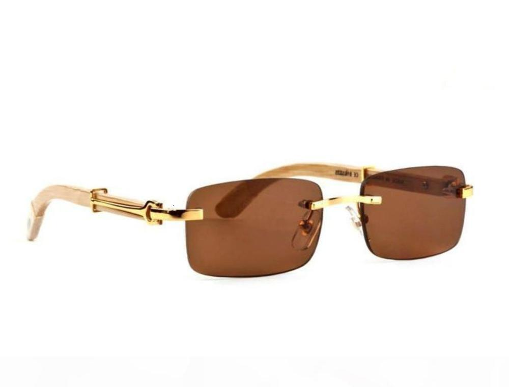 IEnbel Mode Randlose Sonnenbrille Männer Holz Und Natur Büffel Horn fahrende Schatten Eyewear Herren Sport Gläser Sonnenglas
