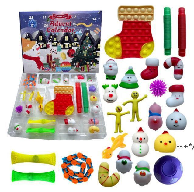 24/25 дней Рождественский Fidge Toy Toy Xmas Coundse календарь слепых ящиков Push Bubbles Kids Gifts Advent Календарь рождественской коробке по морю HHB10210