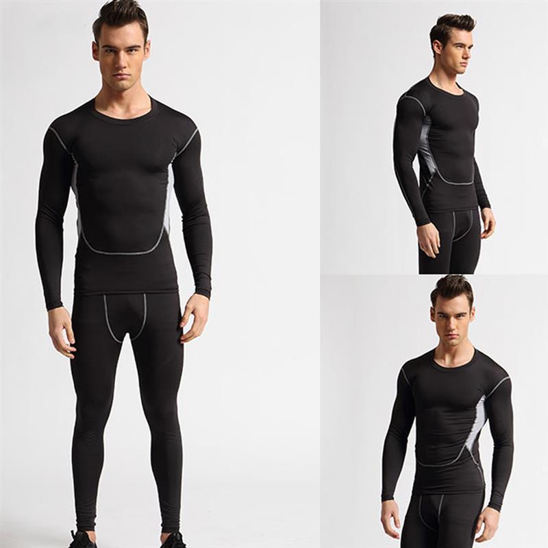 Homens de vestuário ao ar livre executando conjunto de manga longa running t-shirt calça calça seca esporte ginásio ginásio roupas de fitness underwear outdoor terno roupas