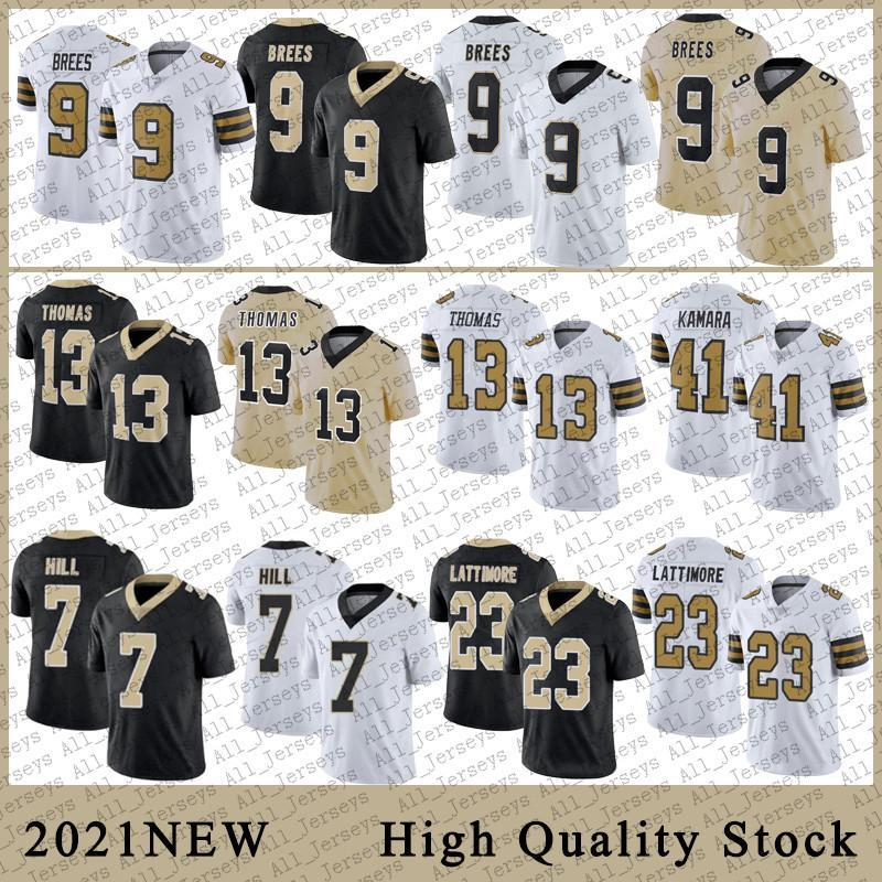 9 Drew Brees Mens Football Jerseys 41 Alvin Kamara 13 Michael Thomas 7 Taysom Hill 23 Marshon Lattimore Stitched jerseys TB Patch high quali