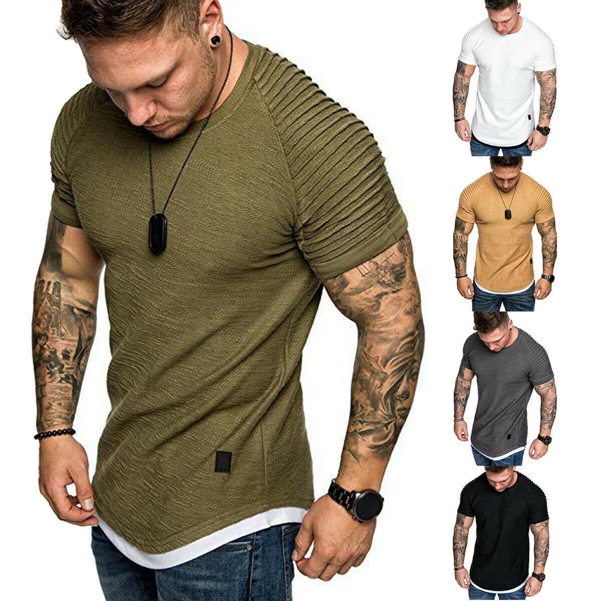 남성용 티셔츠 주름진 슬림 피트 넥 짧은 소매 근육 솔리드 캐주얼 탑 셔츠 여름 기본 티 새로운