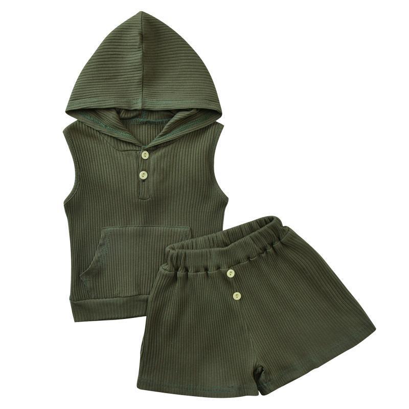 2021 Casual recién nacido bebé niña ropa sólido sin mangas con capucha tops casuales pantalones cortos 2pcs para niños Traje de algodón de verano