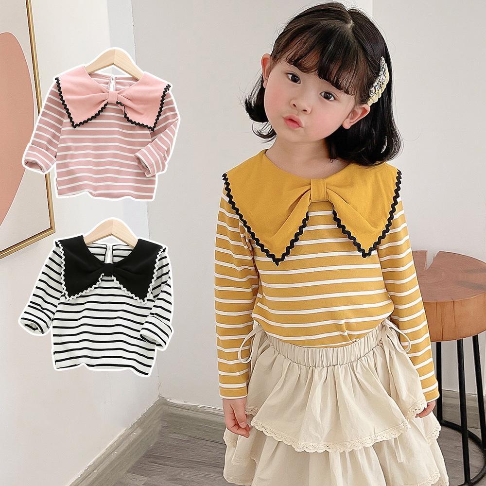 DUDU INS Quality Fashions Kids Girls Tshirts Turn-down Collar Stripes Tees Children Boutique Cloths Lovely Cute Girls T-shirts