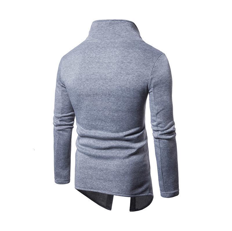 Eğimli erkek Moda Düğme Kazak Erkek Hırka Uzun Paltolar Ceket Erkek Ceket Tops Erkekler Ayakta Col J4N2