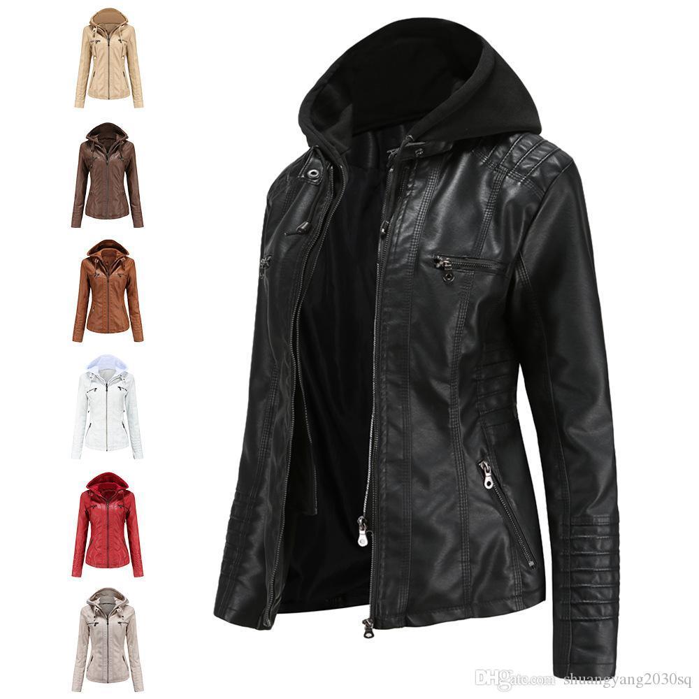 Giacca in pelle con cappuccio da donna Set di due pezzi di grandi dimensioni cappotto in pelle donne primavera e cappotto di autunno donne pupa acqua pupa pelle di lavaggio dell'acqua