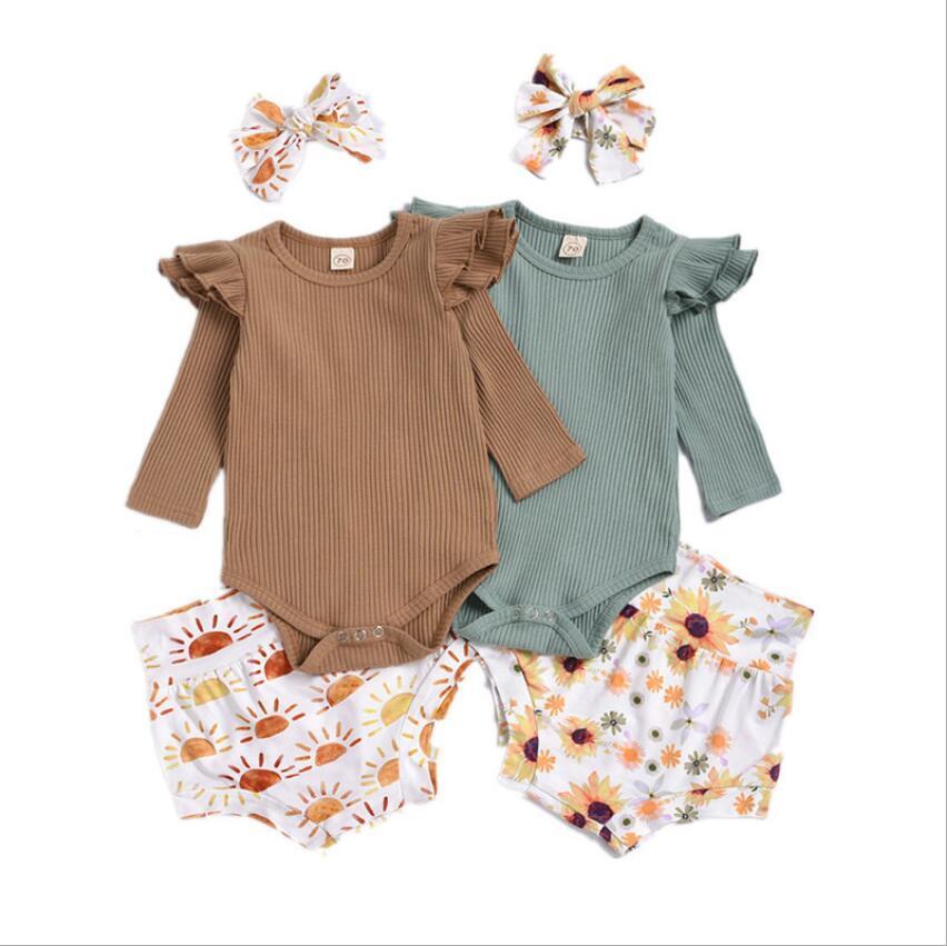 Bebek Kız Giysileri Çocuklar Uzun Kollu Katı Tulum Ayçiçeği Baskılı Üçgen Fırfır Butik Tulumlar Rahat Onesie Çocuklar 3 adet / takım ZYY685