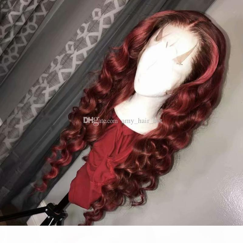 # 99J Şarap Kırmızı 13x6x1 Dantel İnsan Saç Peruk Gevşek Dalgalı Perulu Bordo Saç Tutkalsız Dantel Ön Peruk Orta Bölüm 150% Yoğunluk