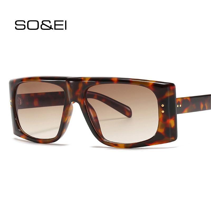 Soei Fashion Square Gradient Sunglasses Femmes De Marque Designer Vintage Rivets Décoration Eyewear Hommes Sun Lunettes Shades