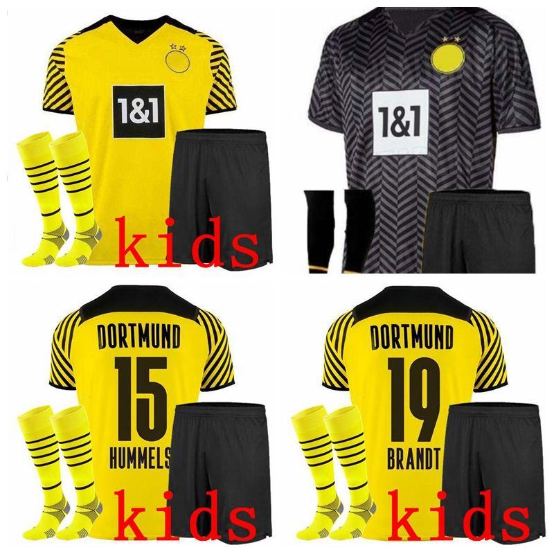 2021 2022 Дортмунд Детские футбольные майки наборы трексуиты Borussia Haaland Reus Neongelb Bellingham Malen Hummels Brandt 22 22 футбольные мальчики рубашки с шортами
