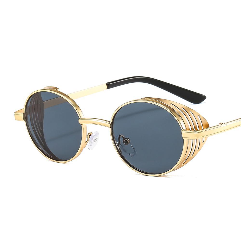 Metall Punk Persönlichkeit Gitter Dekoration Sonnenbrille 17912 Runder Rahmen Farbe Mode Männer und Frauen Rock Europäische und amerikanische Sonnenbrille