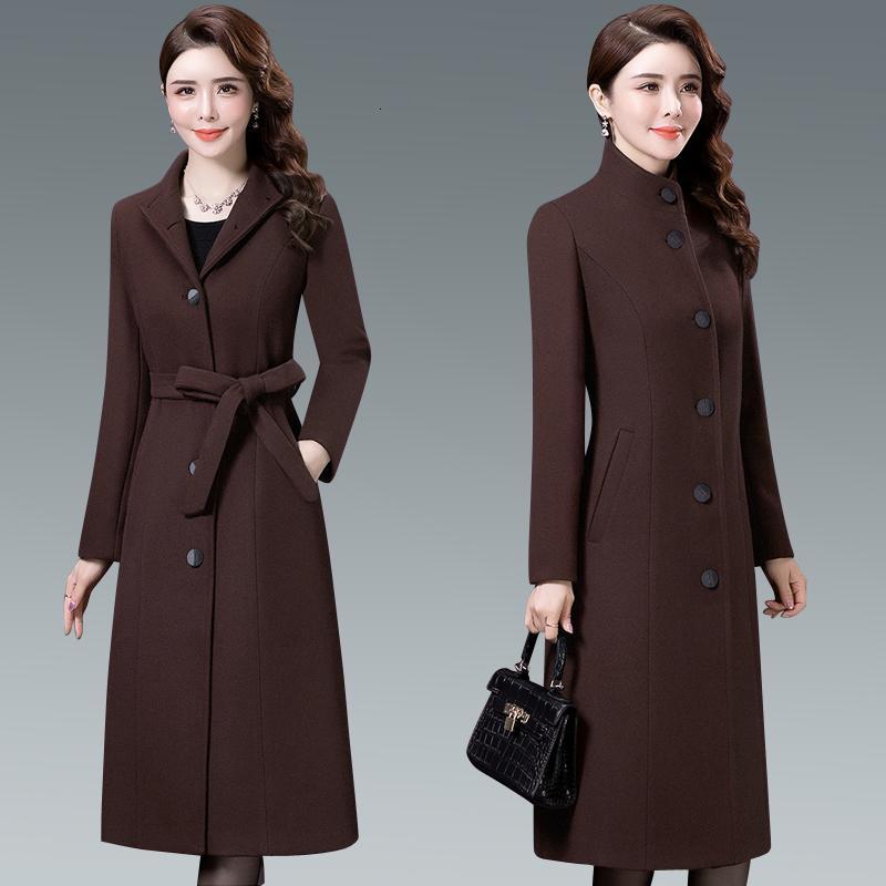 Orta yaşlı MShigh-end kadın butik katı sonbahar ve kış yeni uzun bölüm chic kalın sıcak yün ceket M8kx
