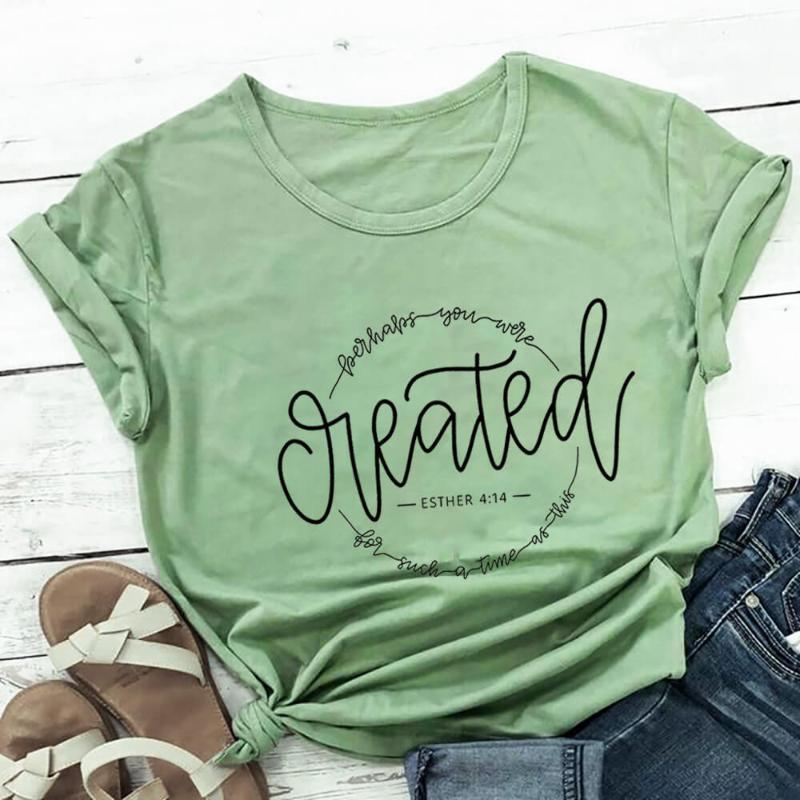 Women's T-Shirt Perhaps You Were Created 100%Cotton Print Women Tshirt Christian Shirt Unisex Funny Summer Casual Short Sleeve Top Jesus Shi