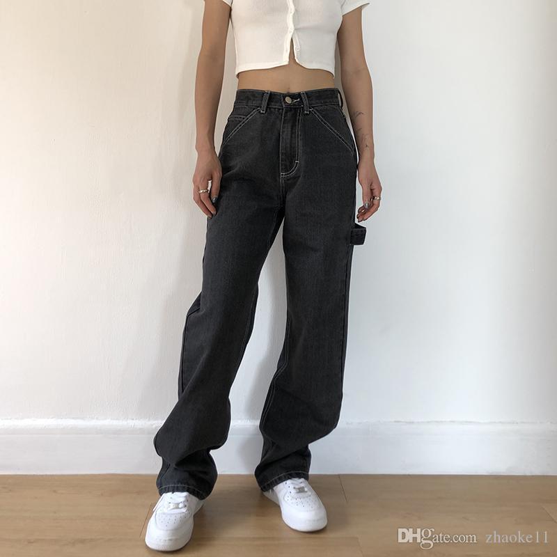 جينز فضفاضة للنساء فضفاضة عالية الخصر صديقها أمي جينز جيوب كبيرة أسود مستقيم الدينيم السراويل الأزياء 2021 حار بيع