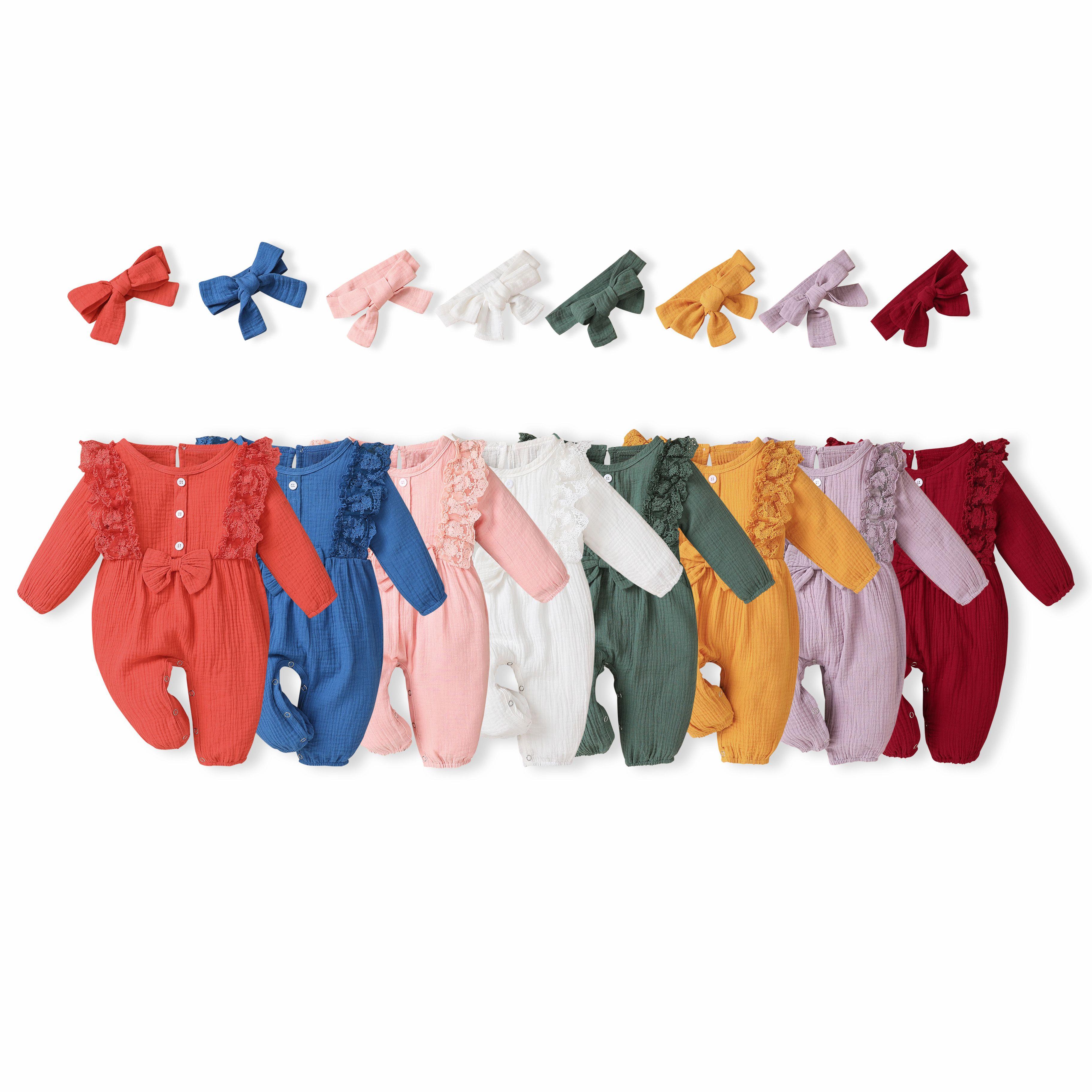 Ins Bebek Çocuk Giyim Kız Romper O-Boyun Uzun Kollu Dantel Tasarım Katı Renk Romper + Kafa Bebek Basit 100% CottonRomper Set