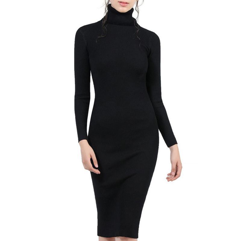 Femmes automne hiver tricoté robes de pull robe slim elastique col roulé à col roulé à manches longues sexy dame robe moulon j0301