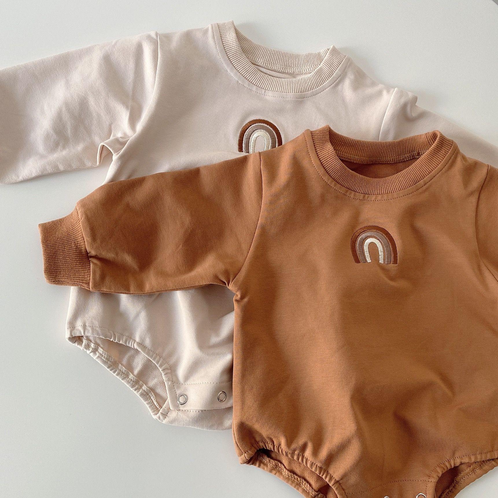 Ins الكورية استراليا جودة الطفل السروال القصير حللا طويلة الأكمام قوس قزح التطريز الربيع الشتاء الوليد داخلية نيسيس