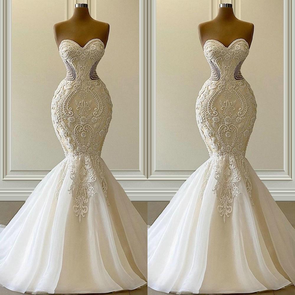 2021 Vestido de Novia 인어 웨딩 드레스 공식 신부 가운 아랍어 연인 자수 레이스 아플리케 크리스탈 비즈 럭셔리 환상 스윕 기차 플러스 사이즈