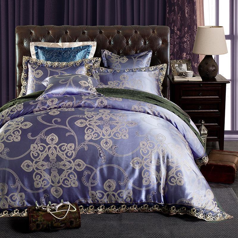 Постельные принадлежности Жаккардовые наборы Кружева Боковая одежда Крышка Европейский стиль кровать Высококачественные постельное белье 100% хлопок льняные король