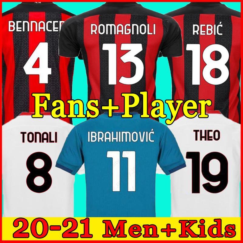 2020 AC 밀라노 이브라히모비치 축구 유니폼 맨 키트 120 주년 기념 REBIC BENNACER TOO Tonali Football Jersey Camisa AC 밀란 20/21