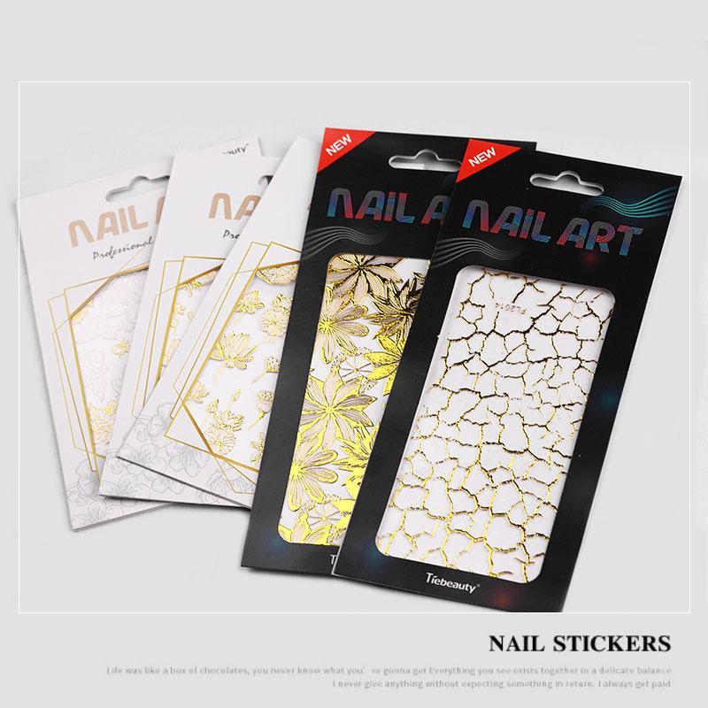 Adesivi per unghie 3D Gold Black Linear Nails Sticker Trasferimento Vari stili di decorazione adesiva 20 stili