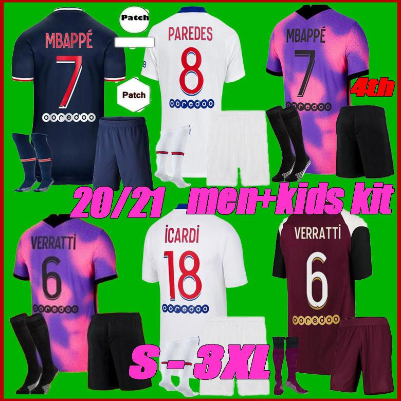 Erkekler + Çocuk Kiti 2021 MBappe Kean Futbol Forması Verratti 2020 2021 Marquinhos Kimpembe di Maria Futbol Gömlek