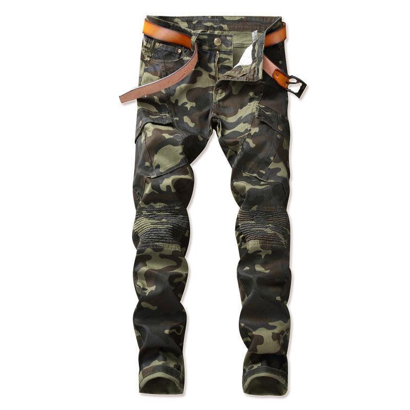 Мужские джинсы abouroun 2021 камуфляж байкер тощий лоскутный мотоцикл грузовые джинсовые штаны