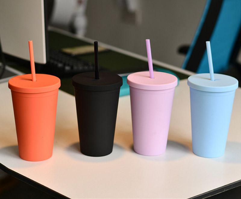 16oz Doble Capa Moda Adultos Y Niños Taza De Café Recta Tazas Tumblers Colores De Caramelo Plástico Cúpulas De Agua Helada Con Paja