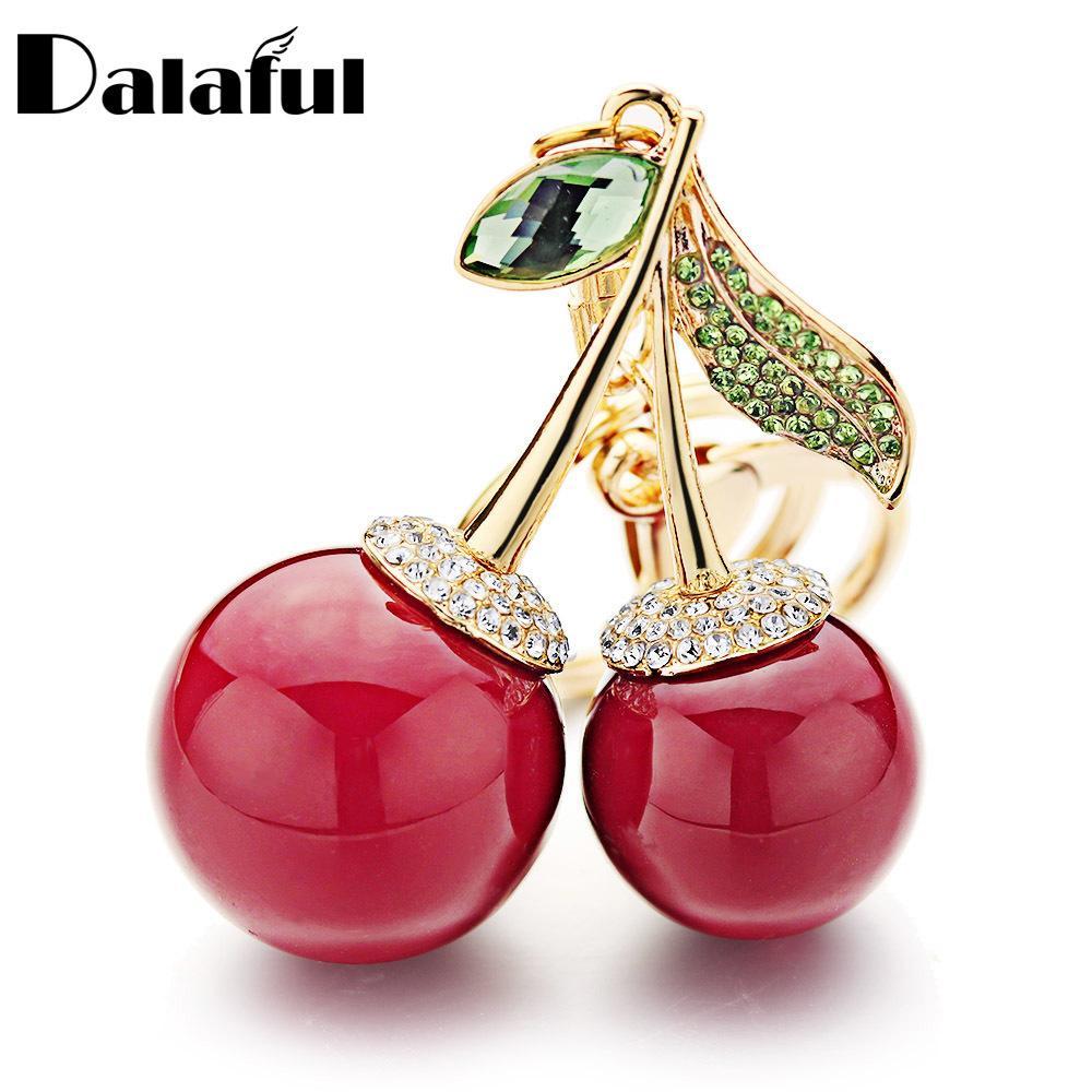 Dalaful Vermelho Chaveiro Chaveiro Chaveiro Cristal Strass Bag Pingente Bonito Desenhos Animados Para Carro Mulheres Chaveiro Anel Cadeia Jóias K364 Y0306