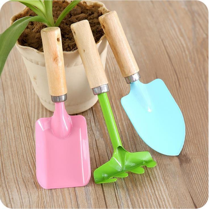 Colorful Shovel Rake Garden Plant Tool Set Children Small Harrow Spade Shovel Gardening Kids Toy SN2358