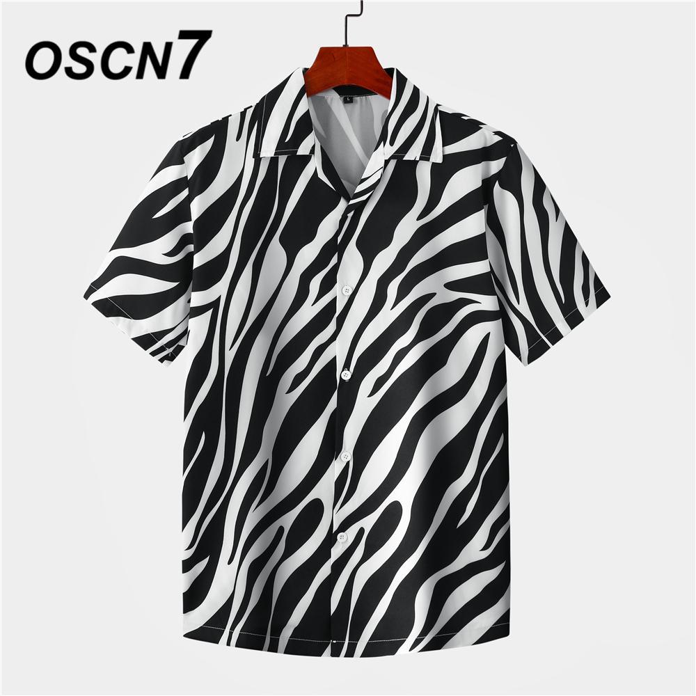 Oszn7 Casual Streetwear Strand Gedruckt Kurzarm Hemd Männer Hawaii Übergröße Mode Harujuku Frauen Shirts MX009 210316