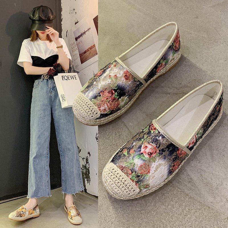 Kadın Çiçekler Baskı Flats 2020 Sonbahar Yeni Moda Ayakkabı Kadın Espadrilles Saman Balıkçı Kadın Loafer Bayanlar Rahat Ayakkabı 8446N