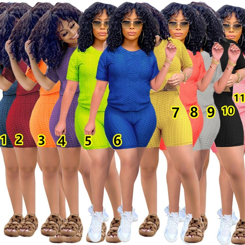 plus size 2 piece set XS-3XL Summer Solid Yoga Outfits Short Sleeve T-shirt+Shorts Women Tracksuits Fashion sportswear Jogging Suits 4540