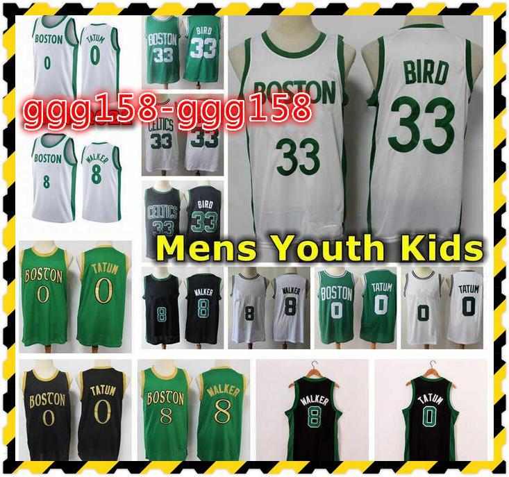 2021 Erkek Gençlik Çocuklar Jayson Tatum Kemba Walker Basketbol Formaları Dikişli Şehir Bostonian Edition 33 Kuş Jersey Ile